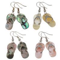 Muschel Ohrringe, Messing, mit Muschel, Schuhe, silberfarben plattiert, für Frau, keine, 40mm, 12.5x22mm, verkauft von Paar