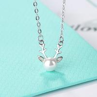 Messing Halskette, mit Kunststoff Perlen, platiniert, Oval-Kette & für Frau, 25mm, verkauft von Strang