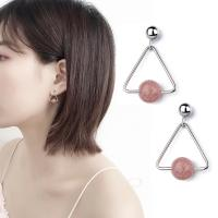 Messing Tropfen Ohrring, mit Strawberry Quartz, platiniert, für Frau, 15mm, verkauft von Paar