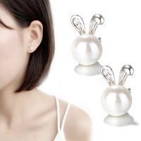 Messing Ohrstecker, mit Kunststoff Perlen, platiniert, für Frau & mit Strass, 10x7mm, verkauft von Paar