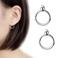 Messing Cartoon-Split-Ohrring, platiniert, für Frau, 14mm, verkauft von Paar