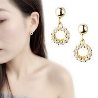 Messing Tropfen Ohrringe, vergoldet, für Frau & mit Strass, 15mm, verkauft von Paar