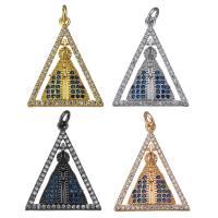 Befestigter Zirkonia Messing Anhänger, Dreieck, plattiert, Micro pave Zirkonia, keine, 20x25x3mm, Bohrung:ca. 3mm, 10PCs/Menge, verkauft von Menge