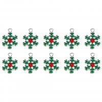 Zinklegierung Weihnachten Anhänger, Schneeflocke, silberfarben plattiert, Emaille, 16mm, Bohrung:ca. 0.5mm, 10PCs/Menge, verkauft von Menge
