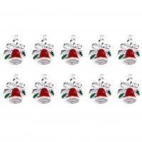 Zinklegierung Weihnachten Anhänger, Weihnachtsglocke, silberfarben plattiert, Emaille, 21mm, Bohrung:ca. 0.5mm, 10PCs/Menge, verkauft von Menge