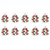Zinklegierung Weihnachten Anhänger, Geschenk Form, silberfarben plattiert, Weihnachtsschmuck & Emaille, 7mm, 10PCs/Menge, verkauft von Menge