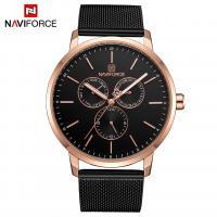 NAVIFORCE® Uhrenkollektion, Glas, mit Edelstahl & Zinklegierung, plattiert, für den Menschen, schwarz, 44x9mm, Länge:ca. 10.2 ZollInch, verkauft von PC