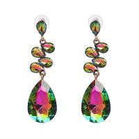 Zinklegierung Tropfen Ohrring, mit Kristall, goldfarben plattiert, für Frau, 20x70mm, verkauft von Paar