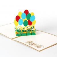 Grußkarte, Papier, Luftballon, handgemacht, mit Umschlag & 3D-Effekt, 150x150mm, verkauft von PC