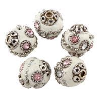 Indonesien Perle, mit Zinklegierung, Olive, antik silberfarben plattiert, mit Strass, 17mm, Bohrung:ca. 1mm, verkauft von PC