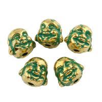 Edelstahl-Beads, Edelstahl, Buddha, goldfarben plattiert, Emaille, 10x10x9mm, Bohrung:ca. 1mm, 20PCs/Tasche, verkauft von Tasche