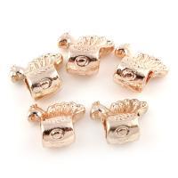 Edelstahl European Perlen, Pfau, Rósegold-Farbe plattiert, ohne troll, 15x14x8mm, Bohrung:ca. 4.5mm, 20PCs/Tasche, verkauft von Tasche