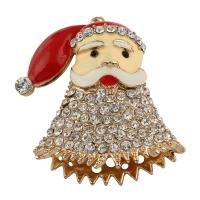 Zinklegierung Weihnachten Anhänger, Weihnachtsmann, goldfarben plattiert, Emaille & mit Strass, frei von Blei & Kadmium, 52x56x18mm, Bohrung:ca. 2mm, verkauft von PC