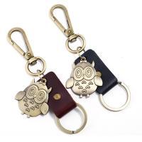 Schlüsselanhänger, Zinklegierung, mit Leder, Eule, antike Bronzefarbe plattiert, keine, 52x60mm, verkauft von PC
