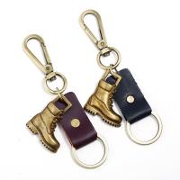 Schlüsselanhänger, Zinklegierung, mit Leder, Schuhe, antike Bronzefarbe plattiert, keine, 40x43mm, verkauft von PC