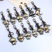 Schlüsselanhänger, Zinklegierung, mit Leder, Chinesische Sternzeichen, antike Bronzefarbe plattiert, verschiedene Stile für Wahl, 48x35mm, verkauft von PC