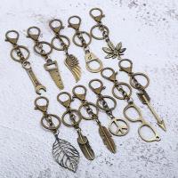 Schlüsselanhänger, Zinklegierung, antike Bronzefarbe plattiert, verschiedene Stile für Wahl, 150mm, verkauft von PC