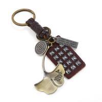 Schlüsselanhänger, Zinklegierung, mit Leder, antike Bronzefarbe plattiert, 40x68mm, verkauft von PC