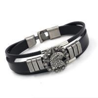 Lederband Armband, Leder, mit Zinklegierung, silberfarben plattiert, unisex & Multi-Strang, keine, Länge:ca. 8.26 ZollInch, 10SträngeStrang/Menge, verkauft von Menge