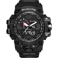 PANARS® Uhrenkollektion, PU-Gummi, mit Edelstahl & Acryl, plattiert, Multifunktions & einstellbar & LED & für den Menschen & wasserdicht & glänzend, keine, 56x17.7mm, 27mm, Länge:ca. 10 ZollInch, verkauft von PC