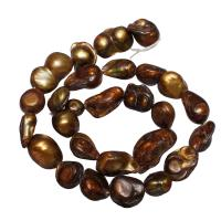 Barock kultivierten Süßwassersee Perlen, Natürliche kultivierte Süßwasserperlen, Klumpen, Kaffeefarbe, 11-12mm, Bohrung:ca. 0.8mm, verkauft per ca. 15 ZollInch Strang