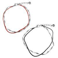 Edelstahl Schmuck Armband, mit Nylonschnur, mit Verlängerungskettchen von 1.5Inch, mit Glocke & Bar-Kette & für Frau & 2 strängig, keine, 11x2.5mm, 4x2.5mm, 1mm, verkauft per ca. 8 ZollInch Strang