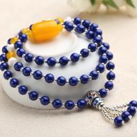 Lapislazuli Wrap Armband, mit Zinklegierung, silberfarben plattiert, für Frau & Multi-Strang, 6mm, verkauft per ca. 21 ZollInch Strang
