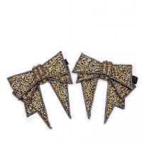 Nichtgewebte Stoffe Schuhe Dekoration, Schleife, mit Strass, 100x115mm, verkauft von Paar