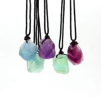 Fluorit Halskette, mit Nylonschnur, Klumpen, unisex, keine, 25mm, verkauft per ca. 14.9 ZollInch Strang