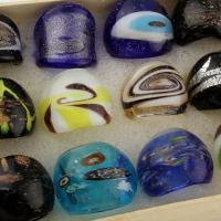Lampwork Fingerring, Messing Haken, unisex & Goldsand und Silberfolie & gemischt, 22x25mm-30x25mm, Innendurchmesser:ca. 18mm, 12PCs/Box, verkauft von Box