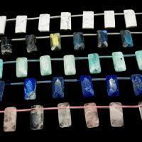 Mischedelstein Perlen, Edelstein, Rechteck, verschiedenen Materialien für die Wahl & facettierte, 15x30mm, Bohrung:ca. 1mm, ca. 12PCs/Strang, verkauft von Strang