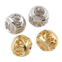 Messing hohle Perlen, plattiert, keine, frei von Nickel, Blei & Kadmium, 9x10mm, Bohrung:ca. 4mm, verkauft von PC