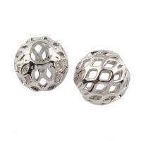 Messing hohle Perlen, platiniert, frei von Nickel, Blei & Kadmium, 7x7x7mm, Bohrung:ca. 3mm, verkauft von PC