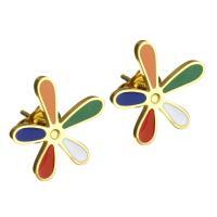 Edelstahl Ohrringe, Blume, goldfarben plattiert, für Frau & Emaille, 14x14mm, 10PaarePärchen/Menge, verkauft von Menge