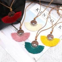 Zinklegierung Franse Halskette, mit Baumwollfaden & Nylonschnur, QuasteTroddel, antike Kupferfarbe plattiert, verschiedene Größen vorhanden, keine, 30mm, verkauft per ca. 30.7 ZollInch Strang