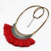 Zinklegierung Franse Halskette, mit Baumwollfaden & Nylonschnur, QuasteTroddel, plattiert, für Frau, keine, frei von Nickel, Blei & Kadmium, 90mm, verkauft per ca. 15.7 ZollInch Strang