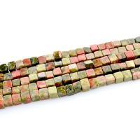 Unakit Perlen, Unakite, 4x4mm, Bohrung:ca. 0.8mm, ca. 100PCs/Strang, verkauft per ca. 15 ZollInch Strang