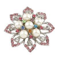 Zinklegierung Cabochon, mit ABS-Kunststoff-Perlen, Blume, silberfarben plattiert, mit Strass, frei von Blei & Kadmium, 49x14mm, 5PCs/Tasche, verkauft von Tasche