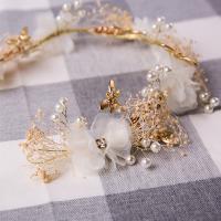 Stoff Haar-Schmuck-Set, Ohrring, mit Acryl Strass & Kunststoff Perlen & Zinklegierung, Libelle, goldfarben plattiert, für Kinder & einstellbar, frei von Nickel, Blei & Kadmium, 380x60mm, 60mm, verkauft von setzen