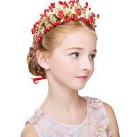 Stirnband, Zinklegierung, mit Kristall & Kunststoff Perlen, goldfarben plattiert, einstellbar & für Frau, keine, frei von Nickel, Blei & Kadmium, 300x100mm, 240mm, verkauft von PC