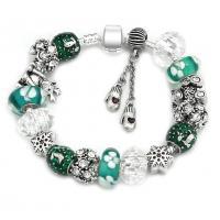 Zinklegierung European Armband, mit Ton & Kristall, silberfarben plattiert, unterschiedliche Länge der Wahl & Schlangekette & für Frau & Emaille, verkauft von Strang