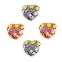 Zinklegierung Großes Loch Perlen, Herz, plattiert, Emaille, keine, frei von Blei & Kadmium, 12x12mm, Bohrung:ca. 6mm, 10PCs/Tasche, verkauft von Tasche