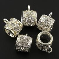 Zinklegierung Stiftöse Perlen, silberfarben plattiert, mit Strass, frei von Blei & Kadmium, 11x15x12mm, Bohrung:ca. 2-6mm, 10PCs/Tasche, verkauft von Tasche
