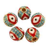 Strass Zinklegierung Perlen, rund, goldfarben plattiert, Emaille & mit Strass, frei von Blei & Kadmium, 9x10mm, Bohrung:ca. 1mm, 10PCs/Tasche, verkauft von Tasche