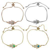 Messing Armband, mit Opal, Hamsa, plattiert, einstellbar & Kastenkette & Micro pave Zirkonia & für Frau, keine, 20x12mm, 1mm, Länge:ca. 5-8 ZollInch, 5SträngeStrang/Menge, verkauft von Menge