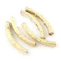 Zinklegierung gebogene Rohr Perlen, gebogenes Rohr, Platinfarbe platiniert, Emaille, frei von Blei & Kadmium, 34x7x4mm, Bohrung:ca. 1mm, 10PCs/Tasche, verkauft von Tasche