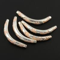 Zinklegierung gebogene Rohr Perlen, gebogenes Rohr, silberfarben plattiert, Emaille, frei von Blei & Kadmium, 40x12x5mm, Bohrung:ca. 0.5mm, 10PCs/Tasche, verkauft von Tasche