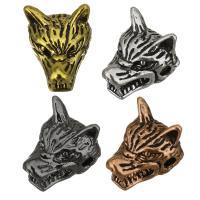 Messing Schmuckperlen, Wolf, plattiert, keine, 10x13x10mm, Bohrung:ca. 2mm, 100PCs/Menge, verkauft von Menge