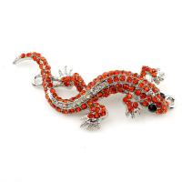 Tier Zinklegierung Schmuckverbinder, Gecko, silberfarben plattiert, mit Strass & 1/1-Schleife, frei von Blei & Kadmium, 31x60x4mm, Bohrung:ca. 1.5mm, verkauft von PC