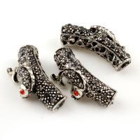 Zinklegierung gebogene Rohr Perlen, gebogenes Rohr, antik silberfarben plattiert, mit Strass, frei von Blei & Kadmium, 26x13x9mm, Bohrung:ca. 2mm, 10PCs/Tasche, verkauft von Tasche
